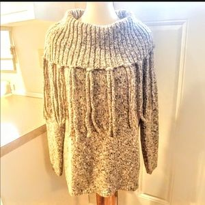 CHICO'S sz 2 Brown Silver Marled Fringe Sweater